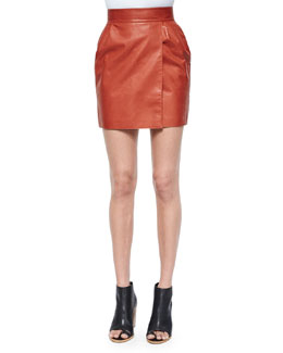 Faux-Wrap Leather Mini Skirt