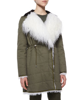 Hastings Long Shearling Fur-Trimmed Parka