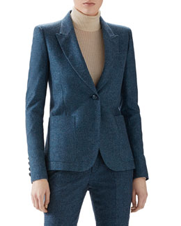 Wool Flannel Single-Breasted Blazer