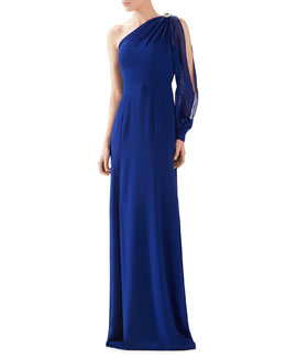 One-Shoulder Silk Georgette Gown