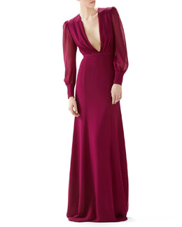 Long Sleeve Silk Georgette Gown