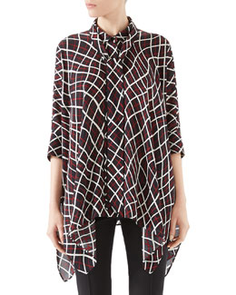 Net Print Silk Cape Shirt