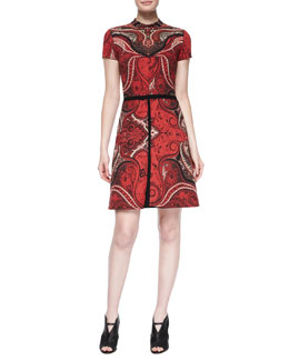 Paisley-Print Fit-And-Flare Dress