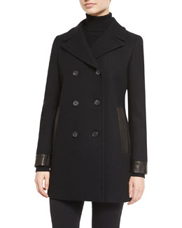 Double-Breasted Wool-Blend Pea Coat, Black