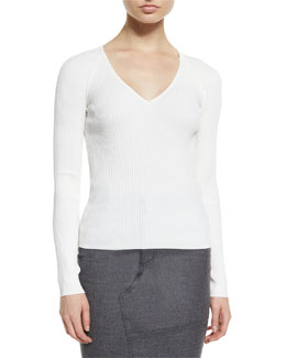 Silk-Blend Pointelle-Knit Sweater, Chalk