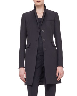 Woven Fitted Button Coat