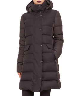 Two-Tone Quilted Puffer Coat