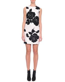 Floral-Print Shift Dress, Black/White