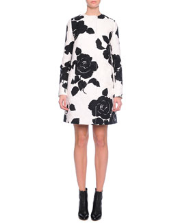 Floral-Print Topper Coat, Black/White
