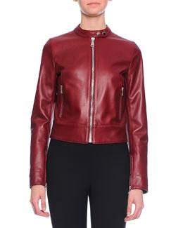 Glossy Leather Moto Jacket