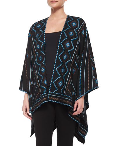 Geeti Zigzag Striped Embroidered Poncho
