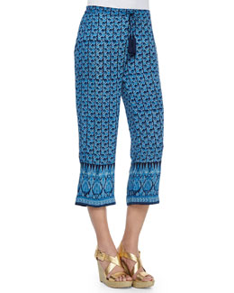 Abstract-Print Drawstring Wide-Leg Pants