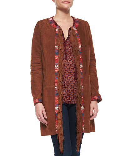 Embroidered & Fringe Long Coat, Tan