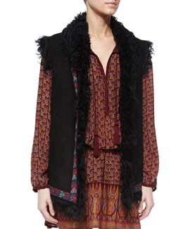 Embroidered Shearling Fur Vest