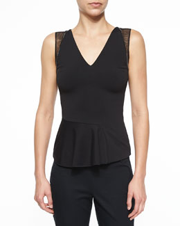 Chain-Trimmed Asymmetric Peplum Top