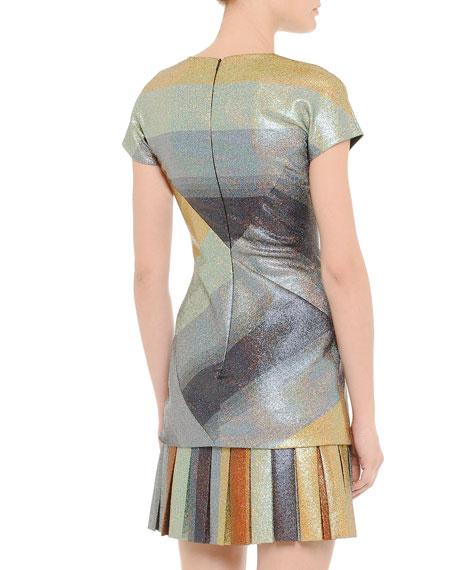 Crisscross Metallic Striped Flounce Dress
