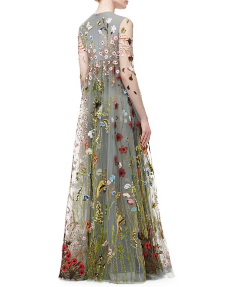 Valentino Floral Embroidered Tulle Empire Waist Gown Gray