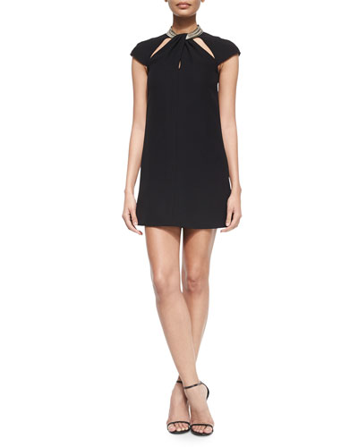 Cap-Sleeve Cutout Chain-Shoulder Dress