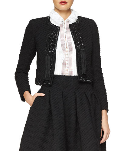 Beaded Stretch Boucle Jacket