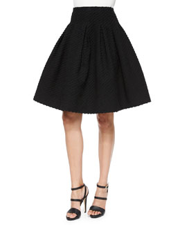 Box-Pleated Boucle Skirt