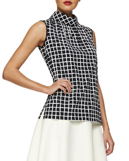 Stand-Collar Grid-Print Blouse