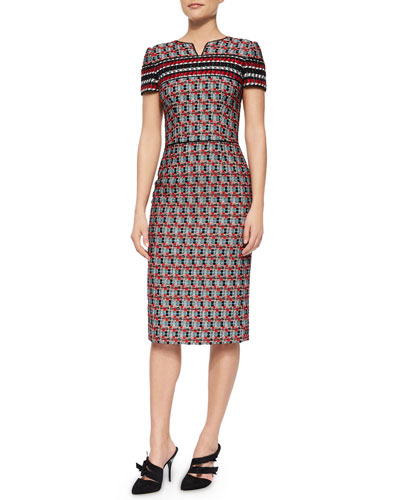 Short-Sleeve Check Tweed Sheath Dress