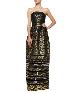 Strapless Brocade Dress w/Lace Insets
