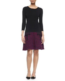 3/4-Sleeve Knit Dress w/Tweed-Effect Skirt