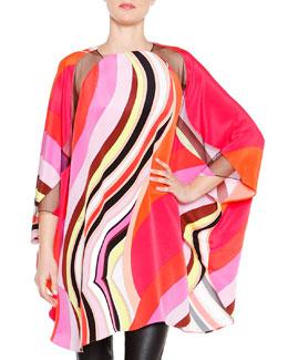 Twirled Stripe-Print Batwing Top