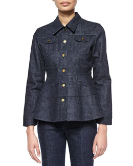 Long-Sleeve Denim Jacket, Indigo