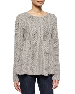 Cable-Knit Long-Sleeve Cashmere Sweater