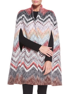 Wool Zigzag Pattern Cape