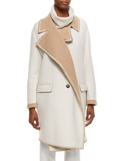 Double-Faced Cashmere Coat w/ Leather Piping