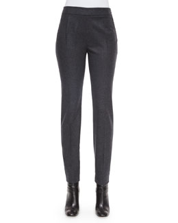 Wool-Cashmere-Blend Slim-Fit Pants, Grigio Gray
