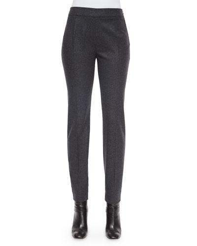 Wool-Cashmere-Blend Slim-Fit Pants, Grigio Gray