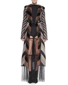 Chevron-Striped Reversible Mink Fur Coat