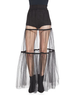 Crystal-Detailed Sheer Tiered Skirt