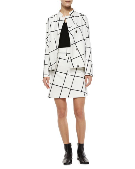 Jigsaw Windowpane-Print Skirt