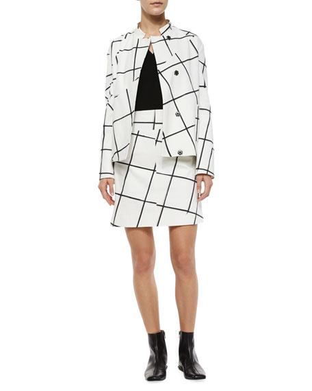 Jigsaw Windowpane-Print Skirt