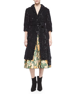 Allover Sequined Four-Pocket Coat
