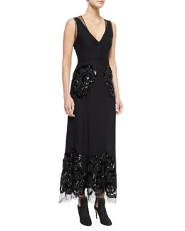 Sleeveless Embroidered Silk Gown, Black