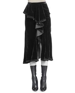 Velvet Cascading Ruffle Skirt
