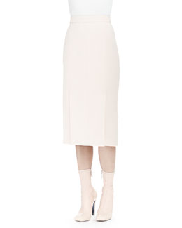 Front-Seamed Pleated Pencil Skirt