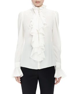 Long-Sleeve Ruffle-Front Blouse, Ivory