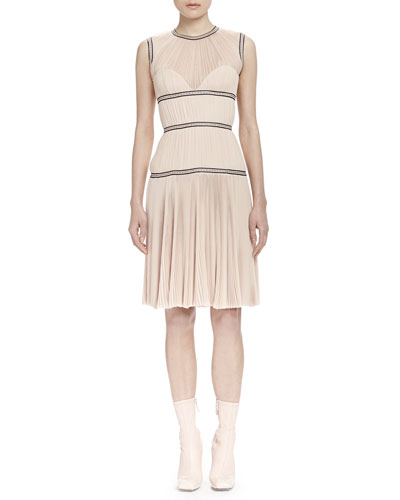 Tiered Pleated Georgette Bustier Dress