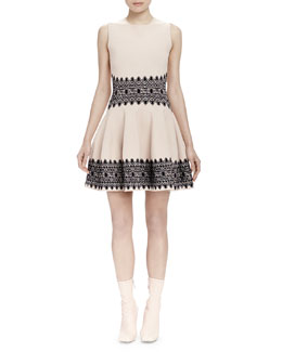 Lace Circle Jacquard-Trim Fit-And-Flare Dress