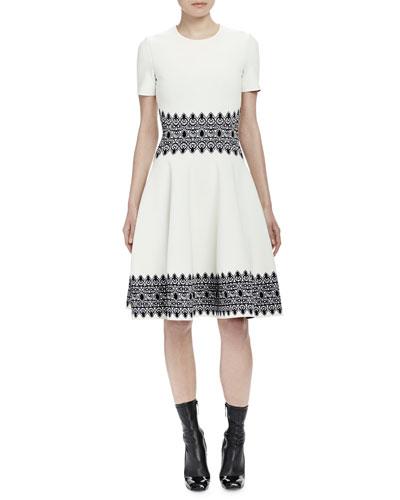 Short-Sleeve Contrast Jacquard Dress