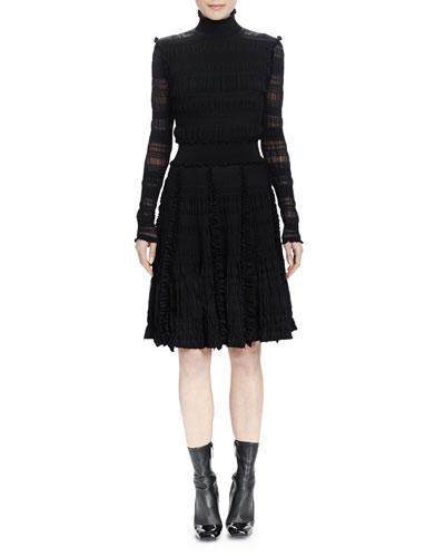 Long-Sleeve Ruffle-Trim Stripe-Ruched Dress