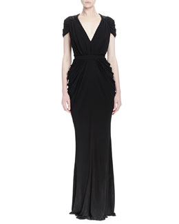 Ruched V-Neck Jersey Column Gown