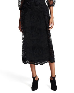 Ruffled Floral-Lace Pencil Skirt, Black